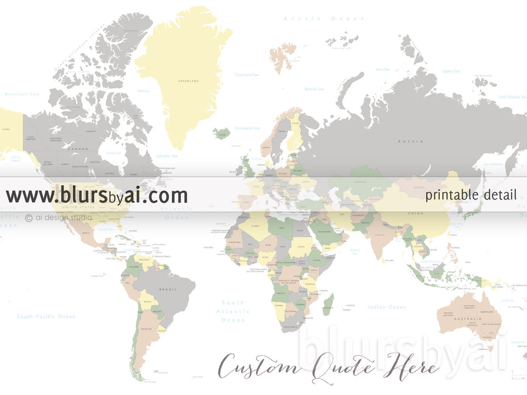 Custom Quote World Map With Countries US States Canadian - Us states and canada provinces map