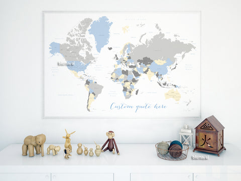 Personalized map print: world map with countries & states in light blue, cream and gray.