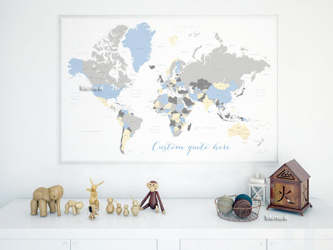 Custom quote - world map, with countries, US States, Canadian provinces, Oceans... labeled. Color combo: the modern baby.