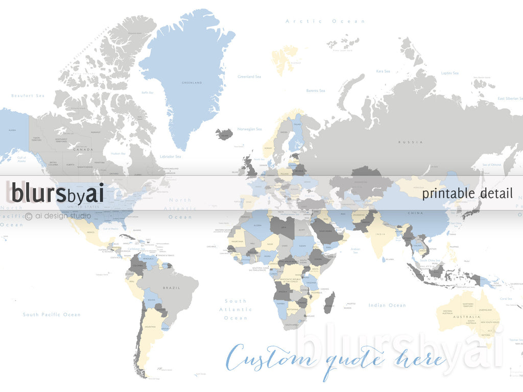 Custom Quote World Map With Countries US States Canadian - Us map with countries