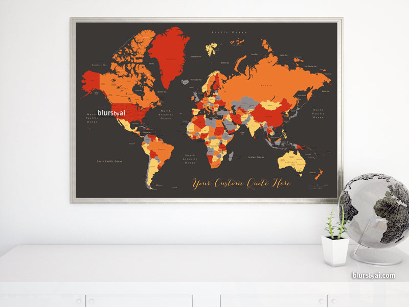 "Custom map print: world map with countries and states in orange and red. ""Blood oranges"""