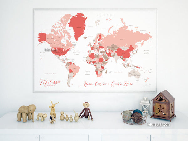 Custom quote - world map, with countries, US States, Canadian provinces, Oceans... labeled. Color combo: mushrooms and petals.