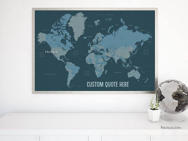 Custom quote - world map, with countries, US States, Canadian provinces,  Oceans... labeled. Color combo: my man of steel.