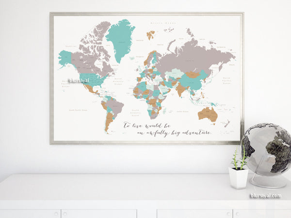 Adventure quote world map with countries and states labelled, large 60x40""