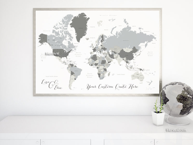 "Custom map print: gray world map with countries and states. ""Concrete hues"""