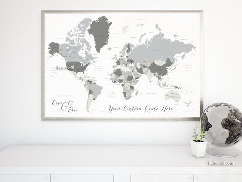 "Personalized map print: gray world map with countries and states. ""Concrete hues"""