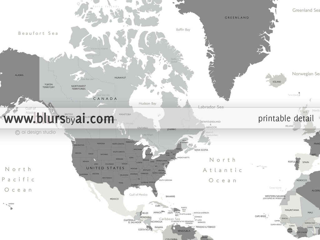 Custom quote - world map, with countries, US States, Canadian provinces, Oceans... labeled. Color combo: concrete hues.