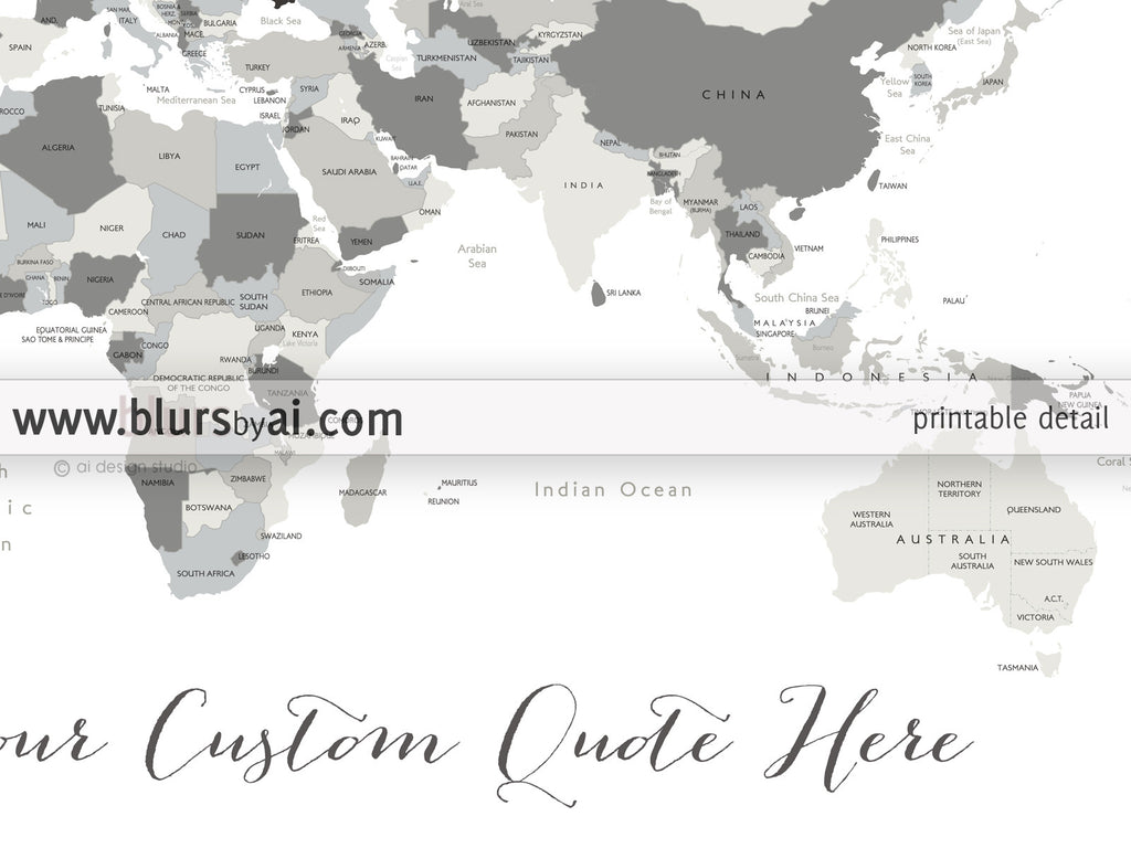 Custom Quote World Map With Countries US States Canadian - Map of the us staes