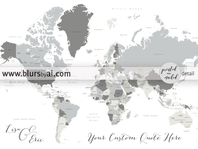 "Custom world map canvas print or push pin map - world map with states. ""Concrete hues"""