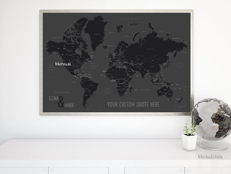 "Custom map print: world map with countries and states in black and gray. ""So simple"""