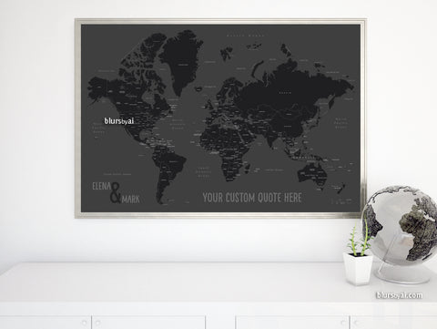 "Personalized map print: world map with countries and states in black and gray. ""So simple"""