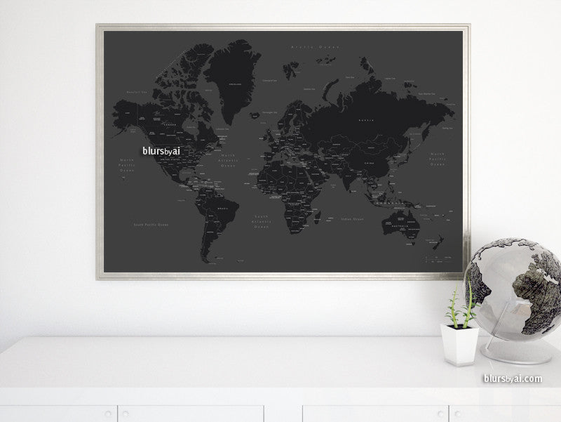 "Black & white printable world map with countries and states labelled, large 36x24"" - For personal use only"