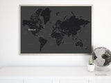 Black & white printable world map with countries and states labelled, large 36x24""