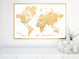 "Personalized map print: gold world map with countries and states. ""Rossie"""