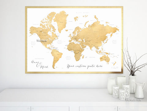 Custom quote - printable world map, with countries, US States, Canadian provinces, Oceans... labeled. Gold foil and white background.