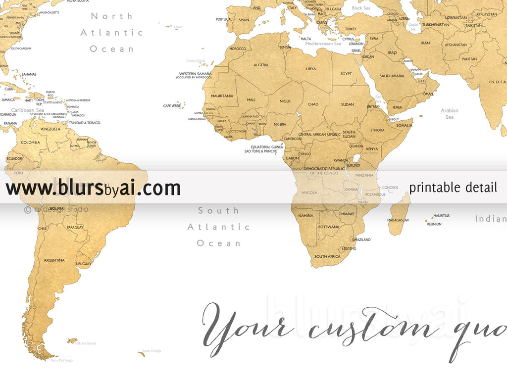 Printable personalized world map with countries us states custom quote printable world map with countries us states canadian provinces gumiabroncs Images