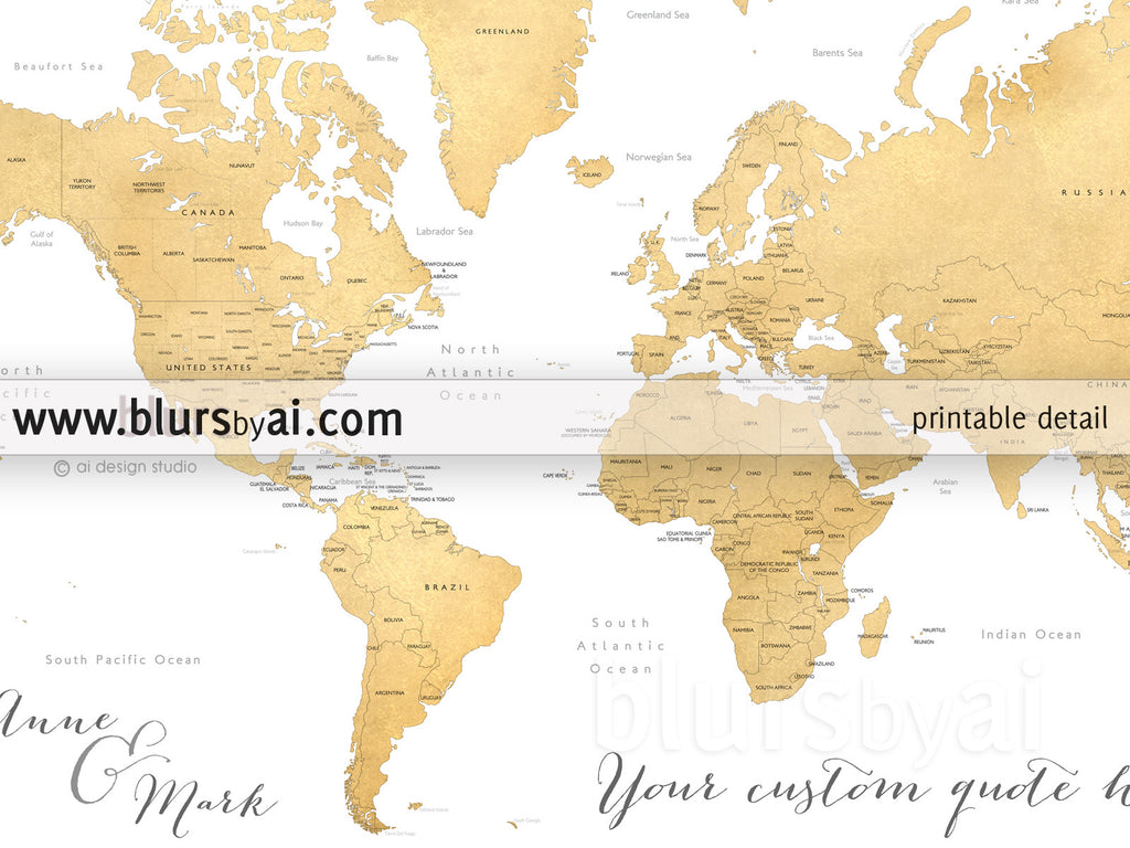 Printable Personalized World Map With Countries US States - Canada usa map states and provinces
