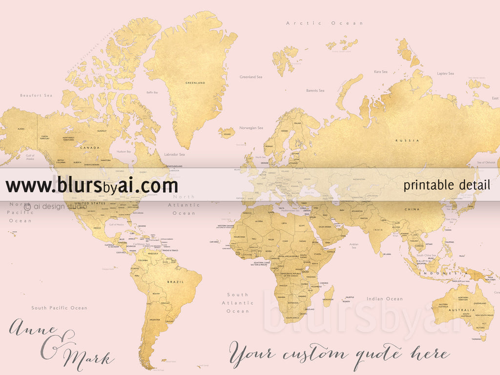 Custom quote world map with countries US States Canadian