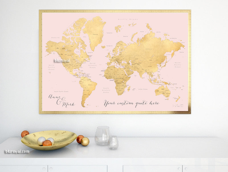 Custom quote - world map, with countries, US States, Canadian provinces, Oceans... labeled. Color combo: blush and gold foil