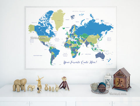 Custom quote - world map with countries and US states labeled. Color combo: In the wild