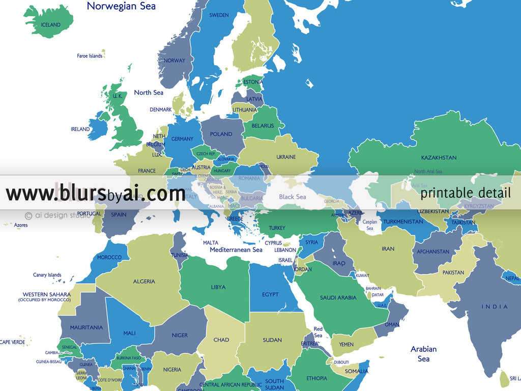 Printable personalized world map with countries and us states color combo in custom quote world map with countries and us states labeled gumiabroncs Choice Image