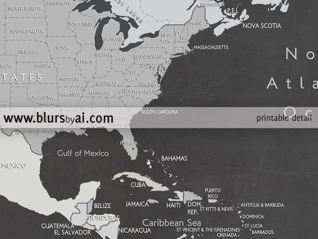 Custom quote - world map, with countries, US States, Canadian provinces, Oceans... labeled. Color combo: Chalkboard map.
