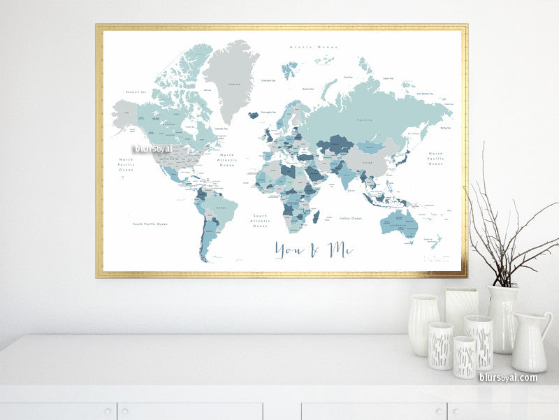 "Printable world map with countries and states labelled, You & Me, large 36x24"" - For personal use only"