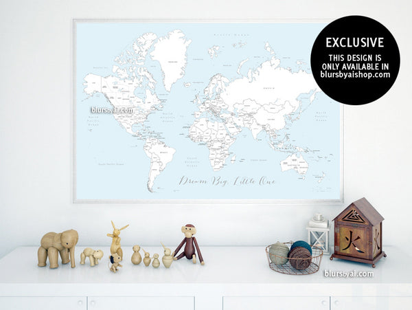 Coloring world map, printable world map with countries and states labelled, large 60x40""