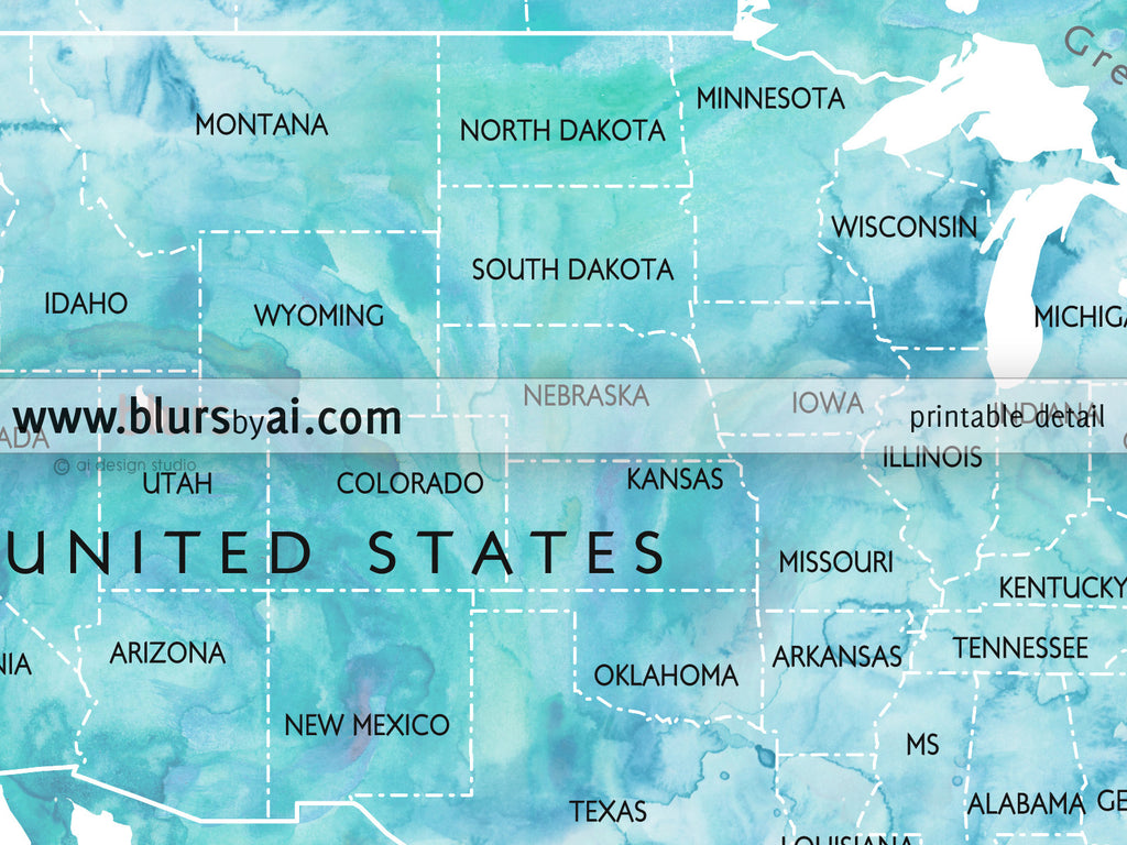 Personalized World Map Watercolor World Map With Countries And - Us map with countries