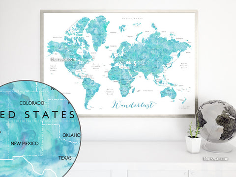Wanderlust, printable aquamarine world map with countries and states labelled, large