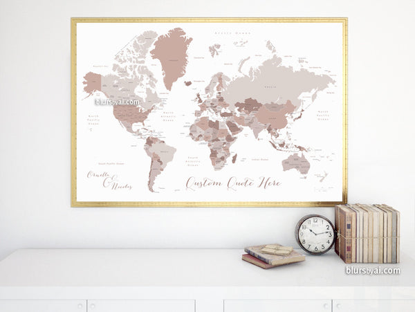 Custom quote - Printable world map with countries and states labelled. Color combination: Ornella