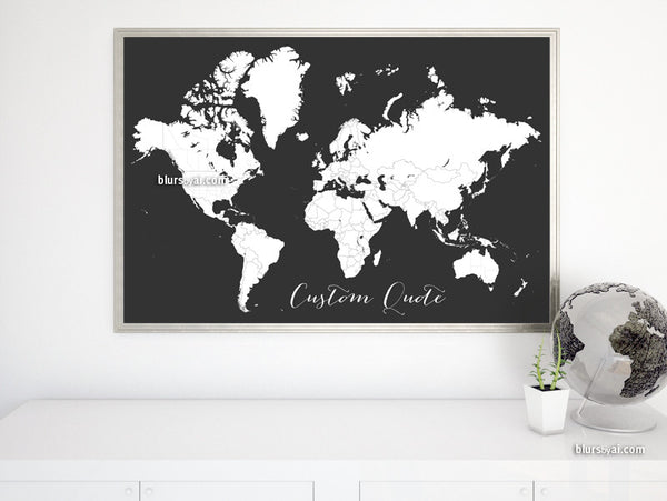 Custom quote - Printable world map with countries and states outlined for coloring in dark grey background