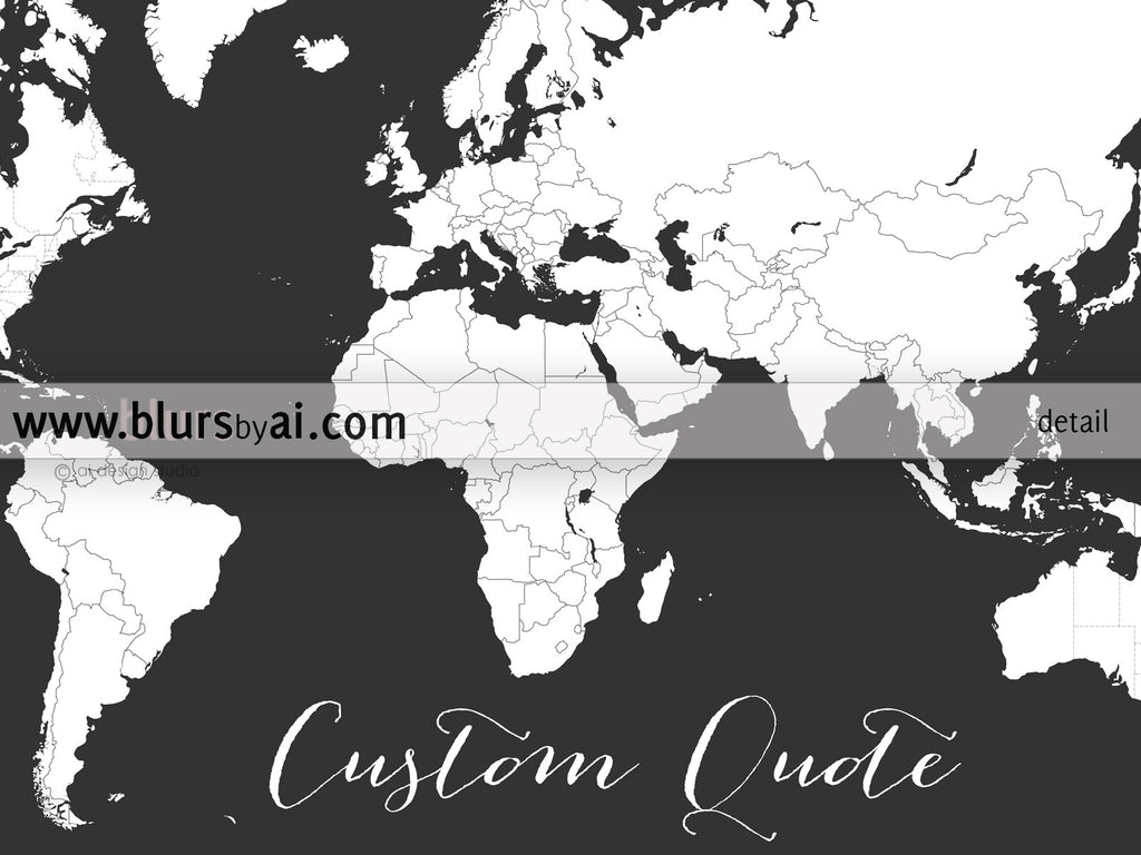 Personalized world map printable art map with countries and states custom quote printable world map with countries and states outlined for coloring in dark grey gumiabroncs Image collections