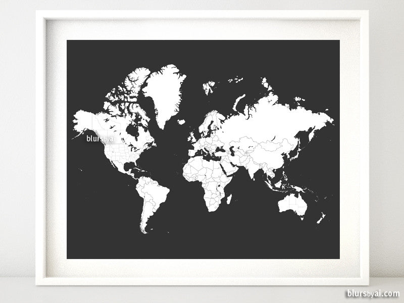 "World map for coloring, printable world map with countries and states outlined in dark grey background, 20x16"" - For personal use only"