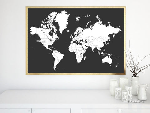 World map for coloring, printable world map with countries and states outlined in dark grey background, large 36x24""