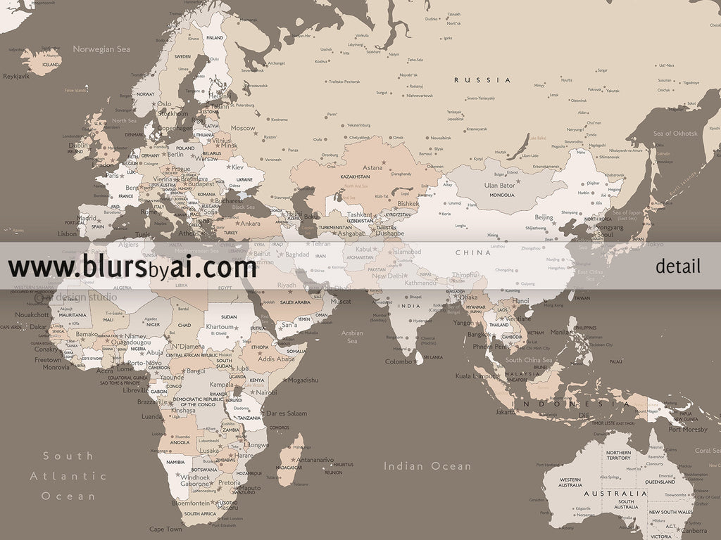 Printable personalized world map with cities Us