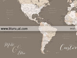 "Printable personalized world map with cities, split in 3 panels. ""Earth tones"""