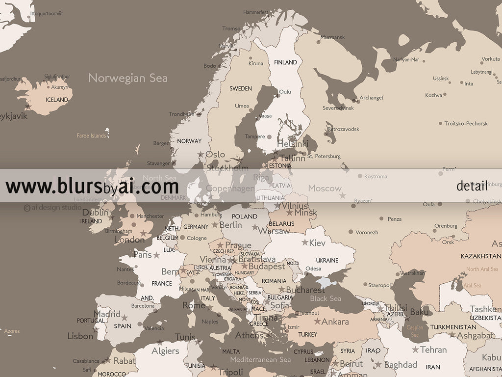 Printable personalized world map with cities split in 3 panels printable personalized world map with cities split in 3 panels gumiabroncs Images