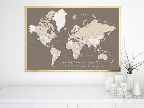 Custom quote - Printable world map with cities, capitals, countries, US States... labeled. Color combination: earth tones