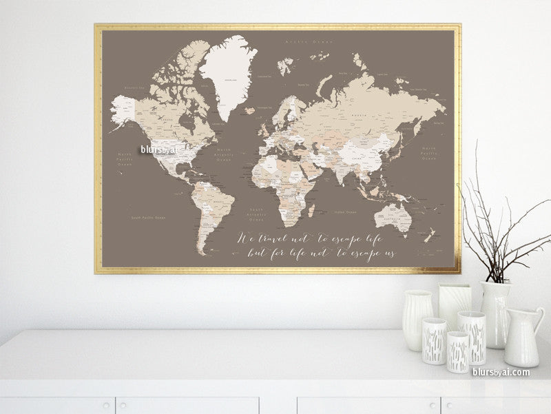 Travel quote world map with countries, states and cities labelled