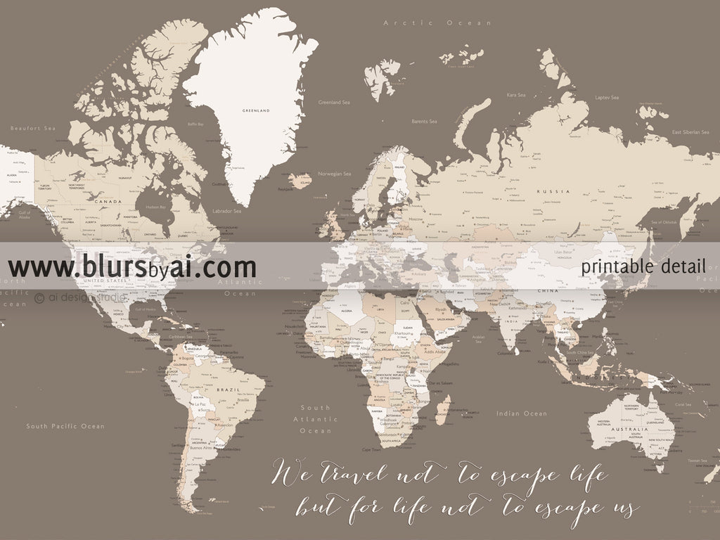 Personalized world map printable art map with cities capitals