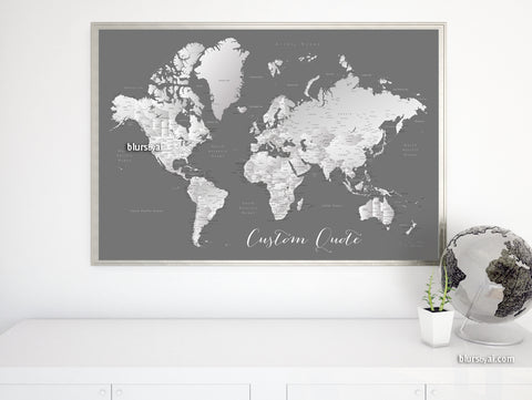 "Art print on paper: custom world map with cities in grayscale gradient. ""Silver leaf"""