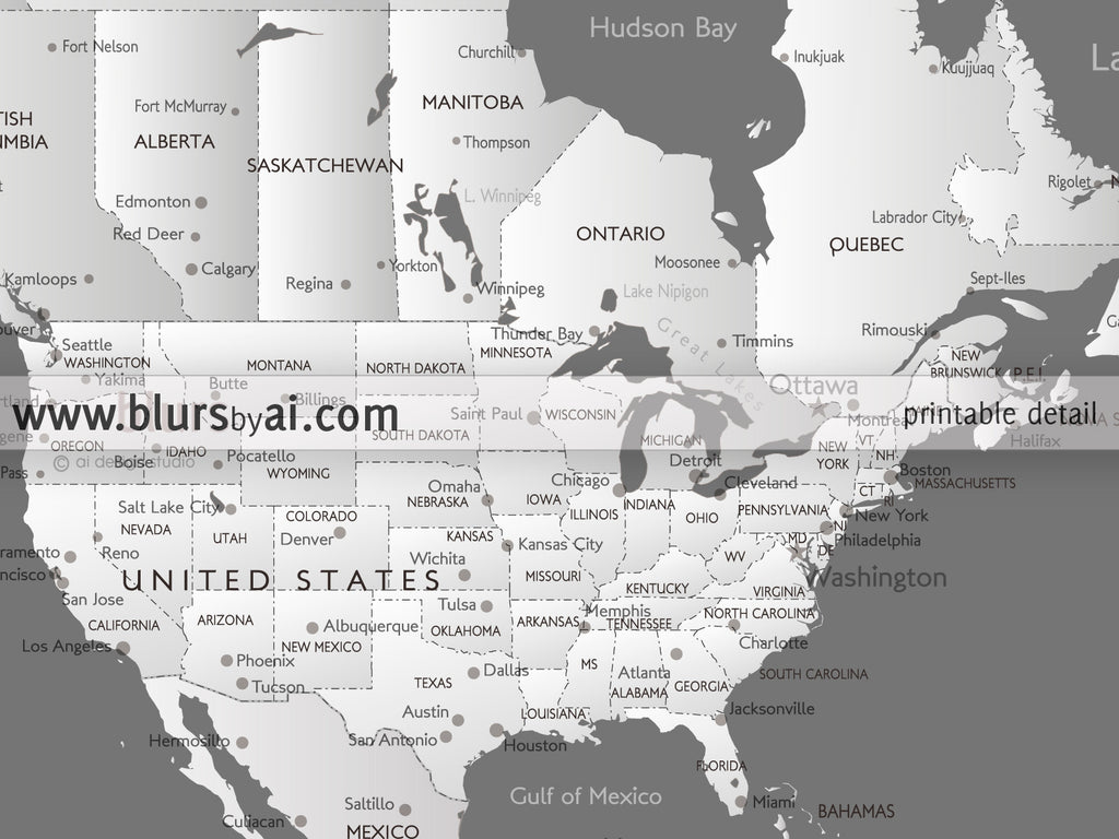 Printable Personalized World Map With Cities Capitals Countries - Us zoomable map states pdf