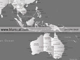 Printable world map with cities in grayscale, Our Family Travels, large 60x40""