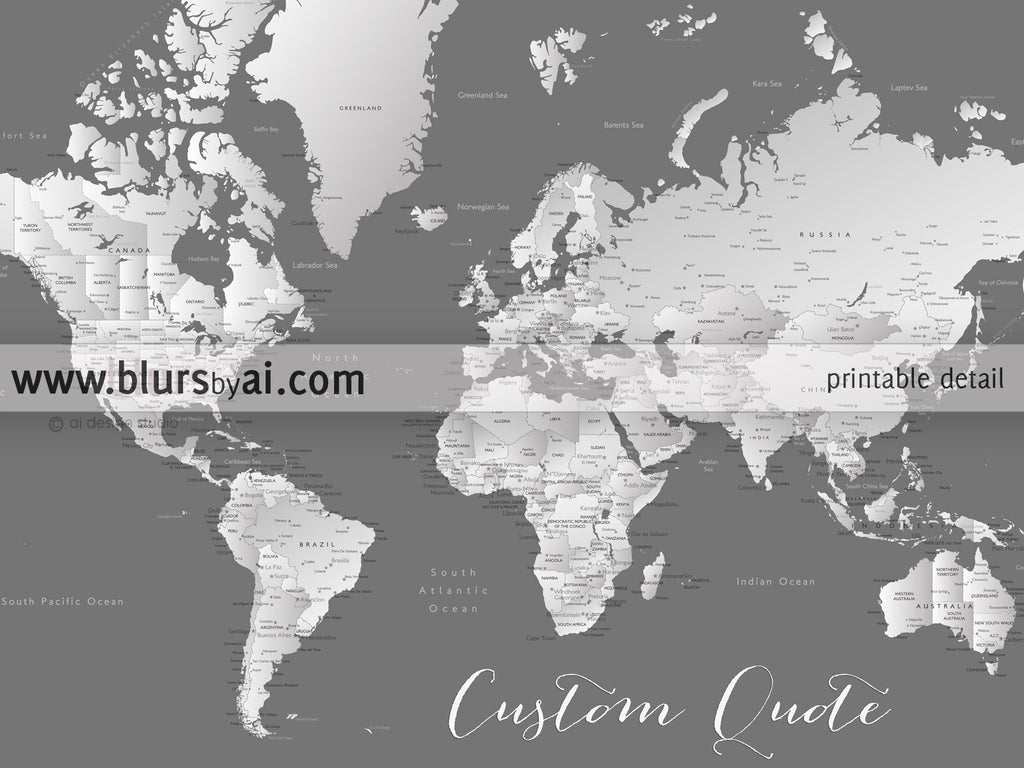 Printable Personalized World Map With Cities Capitals Countries - Us map with capitals and oceans