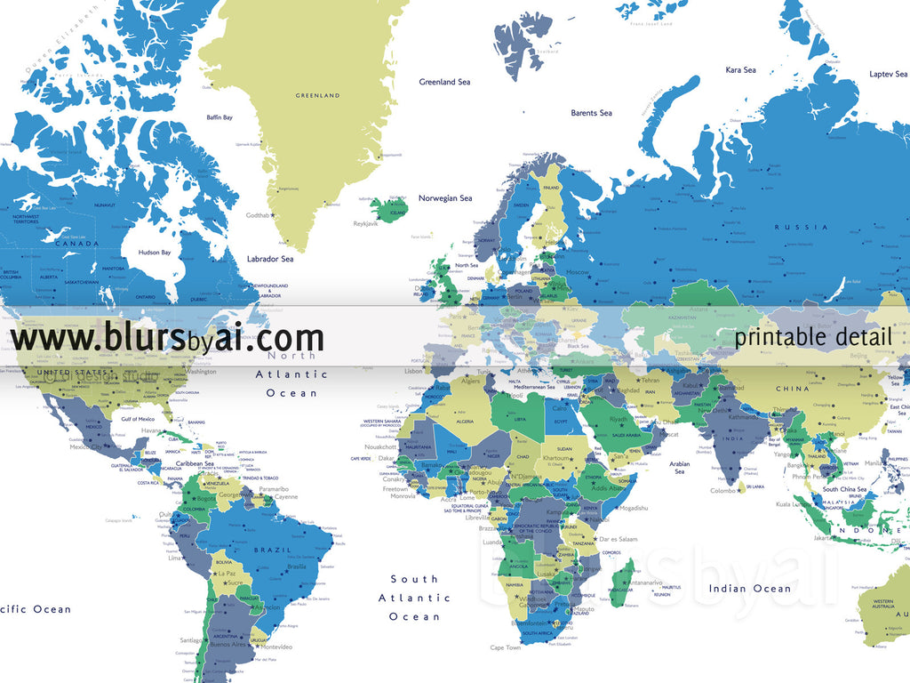 Printable personalized world map with cities capitals countries