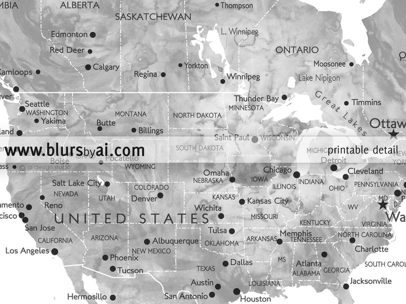 "Grayscale watercolor printable world map, large 60x40"", the world is a book and those who do not travel read only one page - For personal use only"