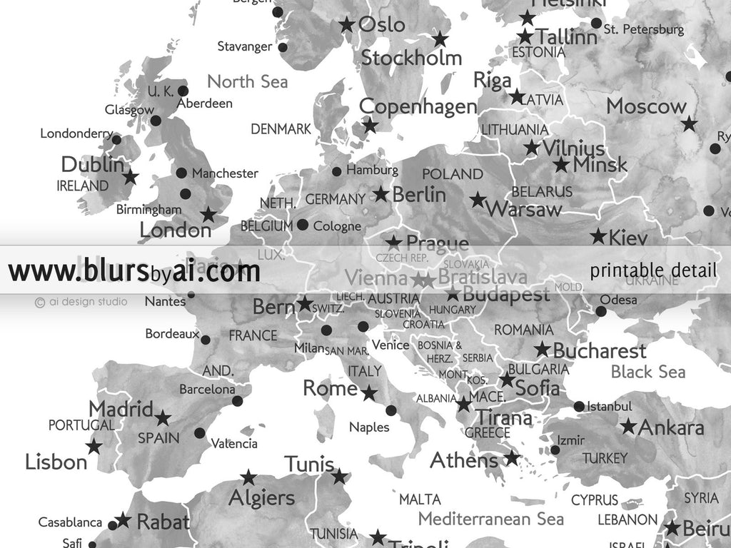 Personalized printable world map grayscale watercolor blursbyai custom quote printable world map with cities capitals countries us states gumiabroncs Gallery
