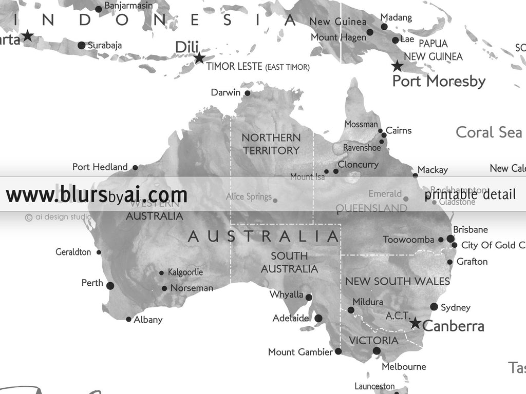 Personalized Printable World Map Grayscale Watercolor  Blursbyai - Us map color
