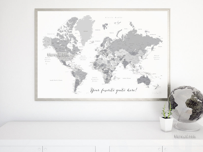 "Custom quote - printable world map with cities, capitals, countries, US States... labeled. Light grayscale. Color combination ""In the city"""